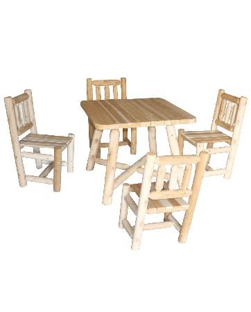 Cet ensemble table et chaise en bois se compose de :<br /> <br /> 1 Table Carr&eacute;e Rondins – R&eacute;f B 130 U<br /> 4 Chaises Bois – R&eacute;f B 3<br />  <br /> <br /> Mat&eacute;riau : bois brut naturel – c&egrave;dre blanc – bois non trait&eacute; et imputrescible<br /> <br /> Norme EN350 Bois Tr&egrave;s Durable<br /> <br /> Usages : Ensemble Repas int&eacute;rieur – chaise table jardin – tout temps<br /> <br /> En ext&eacute;rieur, &eacute;volution de la teinte en gris clair argent&eacute;<br /> <br /> Possibilit&eacute; d'&ecirc;tre verni, lasur&eacute; ou peint, selon vos go&ucirc;ts<br /> <br /> Dimensions :<br /> <br /> Table carr&eacute;e (cm) Longueur 94 – largeur 94 – hauteur 76 – Poids 27 kg<br /> <br /> Chaise (cm) largeur 54 – profondeur 51 – hauteur 92 – Largeur assise 36 – Profondeur assise 43 – Hauteur assise 45 – Poids 10 kg<br /> <br /> Poids 67 kg<br /> <br /> Mobilier en kit livr&eacute;s pr&eacute;-mont&eacute;s avec quincaillerie et notice d'assemblage pour un montage simple et rapide<br /> <br /> Certification FSC – Certification Rainforest Alliance<br /> <br /> Garantie fabricant 2 ans<br /> <br /> Fabriqu&eacute;s au Canada (Qu&eacute;bec)<br /> <br /> Stock en France