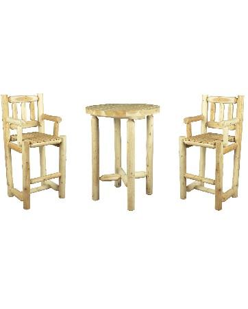 Cet ensemble Mange-debout en bois se compose de :<br /> <br /> 1 Table Haute en bois – Petit mod&egrave;le – R&eacute;f B 9B<br /> 2 Chaises Hautes Mange-debout – R&eacute;f B 3B<br />  <br /> <br /> Cet ensemble est con&ccedil;u pour 2 personnes.<br /> <br /> Cependant, la table existe &eacute;galement en grand mod&egrave;le. Elle s'entoure alors de 4 chaises Hautes Mange-debout.<br /> <br />  <br /> <br /> Ces ensembles Mange-debout sont une grande tendance du moment.<br /> <br /> Ils vous invitent &agrave; des repas d&eacute;contract&eacute;s en duo, en famille ou entre amis.<br /> <br /> Ils trouvent leur place aussi bien dans votre cuisine, dans votre salon ou dans votre jardin, sur votre terrasse, dans votre v&eacute;randa.<br /> <br />  <br /> <br /> Mat&eacute;riau : bois brut naturel – c&egrave;dre blanc – bois non trait&eacute; et imputrescible<br /> <br /> Norme EN350 Bois Tr&egrave;s Durable<br /> <br /> Usages : Meuble Salle &agrave; manger d'int&eacute;rieur &amp; d'ext&eacute;rieur – salon jardin – tout temps<br /> <br /> En ext&eacute;rieur, &eacute;volution de la teinte en gris clair argent&eacute;<br /> <br /> Possibilit&eacute; d'&ecirc;tre verni, lasur&eacute; ou peint, selon vos go&ucirc;ts<br /> <br /> Dimensions :<br /> <br /> Table Mange-debout (cm) – diam&egrave;tre 82 – hauteur 107 – Poids 19 kg<br /> <br /> Chaise Haute (cm) Largeur 58 – Profondeur 54 – Hauteur 122 – Assise : Largeur 40 – Profondeur 44 – Hauteur 75 – Hauteur dossier 46 – Hauteur accoudoir 98 cm – Poids 15 kg<br /> <br /> Poids 49 kg<br /> <br /> Meubles en kits livr&eacute;s pr&eacute;-mont&eacute;s avec quincaillerie et notice d'assemblage pour un montage simple et rapide<br /> <br /> Certification FSC – Certification Rainforest Alliance<br /> <br /> Garantie fabricant 2 ans<br /> <br /> Fabriqu&eacute;s au Canada (Qu&eacute;bec)<br /> <br /> Stock en France
