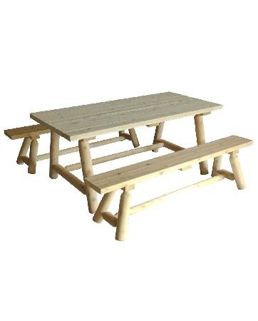 Cet ensemble table et banc en bois se compose de :<br /> <br /> 1 Table Rectangulaire Rondins – R&eacute;f B 21 B<br /> 2 Bancs longs – R&eacute;f B 20 B<br /> Mat&eacute;riau : bois brut naturel – c&egrave;dre blanc – bois non trait&eacute; et imputrescible<br /> <br /> Norme EN350 Bois Tr&egrave;s Durable<br /> <br /> Usages : interieur – exterieur – Mobilier Salle &agrave; manger – table et banc de jardin – tout temps<br /> <br /> En ext&eacute;rieur, &eacute;volution de la teinte en gris clair argent&eacute;<br /> <br /> Possibilit&eacute; d'&ecirc;tre verni, lasur&eacute; ou peint, selon vos go&ucirc;ts<br /> <br /> Dimensions :<br /> <br /> Table rectangulaire Longueur 173 cm – largeur 79 cm – Hauteur 73 cm – Poids 35 kg<br /> <br /> Banc Longueur 173 cm – largeur 24 cm – hauteur 43 cm – Poids 11 kg<br /> <br /> Poids 57 kg<br /> <br /> Mobilier en kits livr&eacute;s pr&eacute;-mont&eacute;s avec quincaillerie et notice d'assemblage pour un montage simple et rapide<br /> <br /> Certification FSC – Certification Rainforest Alliance<br /> <br /> Garantie fabricant 2 ans<br /> <br /> Fabriqu&eacute;s au Canada (Qu&eacute;bec)<br /> <br /> Stock en France