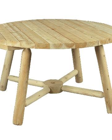 Cette table de jardin en bois massif est pr&eacute;vue avec un emplacement parasol pour les belles journ&eacute;es ensoleill&eacute;es !<br /> <br /> Elle s'entoure des chaises Rondins (r&eacute;f B 3) ou des bancs Rondins (r&eacute;f B 19 A – B 20 A).<br /> <br /> Elle peut accueillir jusqu'&agrave; 6 personnes.<br /> <br />  <br /> <br /> Mat&eacute;riau : bois brut naturel – c&egrave;dre blanc – bois non trait&eacute; et imputrescible<br /> <br /> Norme EN 350 (bois tr&egrave;s durable)<br /> <br /> Usages : table ext&eacute;rieur jardin – table ronde 6 personnes maximum – tout temps<br /> <br /> En ext&eacute;rieur, &eacute;volution de la teinte en gris clair argent&eacute;<br /> <br /> Possibilit&eacute; d'&ecirc;tre vernie, lasur&eacute;e ou peinte, selon vos go&ucirc;ts – Emplacement parasol<br /> <br /> Dimensions (cm) diam&egrave;tre 122 – Hauteur 71<br /> <br /> Poids 33 kg<br /> <br /> Table livr&eacute;e pr&eacute;-mont&eacute;e avec quincaillerie et notice de montage pour un montage simple et rapide<br /> <br /> Certification Rainforest Alliance<br /> <br /> Garantie fabricant 2 ans<br /> <br /> Fabriqu&eacute;e au Canada<br /> <br /> Stock en France