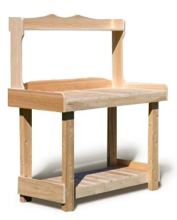 Vous serez s&eacute;duit par cette table de travail en bois aux proportions g&eacute;n&eacute;reuses.<br /> <br /> Les dimensions de son plan de travail vous offrent de nombreux choix d'utilisation.<br /> <br /> En ext&eacute;rieur, nous vous la pr&eacute;sentons comme table barbecue pour poser plats, assiettes et ustensiles &agrave; c&ocirc;t&eacute; de votre barbecue.<br /> <br /> Elle peut &eacute;galement &ecirc;tre employ&eacute; comme table de jardinage pour vos rempotages.<br /> <br /> En int&eacute;rieur, elle peut &eacute;quiper votre salle de bain. Elle fait un tr&egrave;s joli meuble de salle de bain avec un lavabo &agrave; poser.<br /> <br /> Son utilisation peut &eacute;galement &ecirc;tre d&eacute;tourn&eacute;e en meuble de cuisine avec &eacute;vier.<br /> <br /> Elle trouve &eacute;galement sa place comme desserte dans votre salle &agrave; manger ou dans des salles de restaurant.<br /> <br /> C'est un vrai cam&eacute;l&eacute;on qui s'adapte &agrave; vos choix d'utilisation !<br /> <br />  <br /> <br /> Mat&eacute;riau : bois brut naturel – c&egrave;dre blanc – bois non trait&eacute; et imputrescible<br /> <br /> Norme EN 350 (bois tr&egrave;s durable)<br /> <br /> Usages : Table int&eacute;rieur – table ext&eacute;rieur<br /> <br /> En ext&eacute;rieur, &eacute;volution de la teinte en gris clair argent&eacute;<br /> <br /> Possibilit&eacute; d'&ecirc;tre vernie, lasur&eacute;e ou peinte, selon vos go&ucirc;ts<br /> <br /> Dimensions (cm) Longueur 123 – largeur 62 – Hauteur 152<br /> <br /> Hauteur plan de travail 90 cm<br /> <br /> Longueur int&eacute;rieure plan de travail 119 cm<br /> <br /> Poids 26 kg<br /> <br /> Table en kits livr&eacute;e pr&eacute;-mont&eacute;e avec quincaillerie et notice d'assemblage pour un montage simple et rapide<br /> <br /> Certification FSC – Certification Rainforest Alliance <br /> <br /> Garantie fabricant 2 ans<br /> <br /> Fabriqu&eacute;e au Canada<br /> <br /> Stock en France