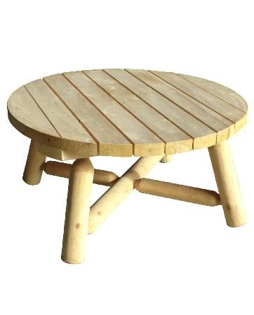 Son plateau de diam&egrave;tre 92 cm donne &agrave; cette table basse de jardin une allure folle !<br /> <br /> Indoor ou Outdoor, elle s'adapte &agrave; votre projet d'agencement et embellit naturellement votre d&eacute;cor ext&eacute;rieur et int&eacute;rieur.<br /> <br /> Elle s'harmonise parfaitement avec les fauteuils RONDINS (r&eacute;f B 4 KD – B 4A KD) et le canap&eacute; RONDINS 3 places (B 7 KD).<br /> <br /> Si vous recherchez un mod&egrave;le moins imposant, cette table basse ronde existe &eacute;galement en diam&egrave;tre 69 cm ( r&eacute;f B 9).<br /> <br />  <br /> <br /> Mat&eacute;riau : bois naturel – bois massif – 100% c&egrave;dre blanc – bois non trait&eacute; et imputrescible<br /> <br /> Norme EN 350 (bois tr&egrave;s durable)<br /> <br /> Usages : Table basse de jardin et table basse de salon – tout temps<br /> <br /> En ext&eacute;rieur, &eacute;volution de la teinte en gris clair argent&eacute;<br /> <br /> Possibilit&eacute; d'&ecirc;tre vernie, lasur&eacute;e ou peinte, selon vos go&ucirc;ts<br /> <br /> Dimensions (cm) diam&egrave;tre 92 – Hauteur 45<br /> <br /> Poids 19 kg<br /> <br /> Table livr&eacute;e en kit pr&eacute;-mont&eacute;e avec quincaillerie et notice d'assemblage pour un montage simple et rapide<br /> <br /> Certification FSC – Certification Rainforest Alliance <br /> <br /> Garantie fabricant 2 ans<br /> <br /> Fabriqu&eacute;e au Qu&eacute;bec (Canada)<br /> <br /> Stock en France