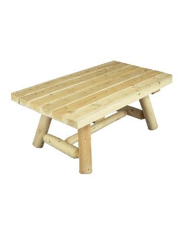 Cette table de salon en c&egrave;dre est parfaite comme table basse de salon d'int&eacute;rieur et d'ext&eacute;rieur.<br /> <br /> De part ses dimensions, elle se marie parfaitement avec les canap&eacute;s RONDINS 3 places (r&eacute;f B 7 KD).<br /> <br /> Nous vous proposons ici une suggestion d'ensemble salon.<br /> <br /> Elle peut &eacute;galement &ecirc;tre utilis&eacute;e en table canap&eacute;.<br /> <br /> Dans une chambre, cette petite table en bois aura toute sa place en bout de lit pour y d&eacute;poser livres, revues, magazines, …<br /> <br />  <br /> <br /> Mat&eacute;riau : bois brut naturel – c&egrave;dre blanc – bois non trait&eacute; et imputrescible<br /> <br /> Norme EN 350 (bois tr&egrave;s durable)<br /> <br /> Usages : Table basse indoor et table basse outdoor – tout temps<br /> <br /> En ext&eacute;rieur, &eacute;volution de la teinte en gris clair argent&eacute;<br /> <br /> Possibilit&eacute; d'&ecirc;tre vernie, lasur&eacute;e ou peinte, selon vos go&ucirc;ts<br /> <br /> Dimensions (cm) Longueur 107 – largeur 61 – hauteur 43<br /> <br /> Poids 15 kg<br /> <br /> Table livr&eacute;e pr&eacute;-mont&eacute;e avec quincaillerie et notice d'assemblage pour un montage simple et rapide<br /> <br /> Certification FSC – Certification Rainforest Alliance <br /> <br /> Garantie fabricant 2 ans<br /> <br /> Fabriqu&eacute;e au Qu&eacute;bec (Canada)<br /> <br /> Stock en France