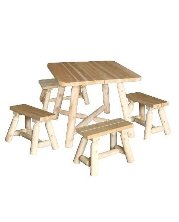 Cet ensemble table carr&eacute;e en bois et bancs se compose de :<br /> <br /> 1 Table Carr&eacute;e – R&eacute;f B 130 U<br /> 4 Bancs – R&eacute;f B 19 A<br /> Les bancs se rangent sous la table pour un gain de place int&eacute;ressant !<br /> <br />  <br /> <br /> Cet ensemble se d&eacute;cline &eacute;galement avec des bancs plus larges qui ont l'avantage de pouvoir asseoir 2 enfants c&ocirc;te &agrave; c&ocirc;te.<br /> <br />  <br /> <br /> Mat&eacute;riau : bois brut naturel – c&egrave;dre blanc – bois non trait&eacute; et imputrescible<br /> <br /> Norme EN350 Bois Tr&egrave;s Durable<br /> <br /> Usages : Meuble Salle &agrave; manger d'int&eacute;rieur &amp; d'ext&eacute;rieur – salon jardin – tout temps<br /> <br /> En ext&eacute;rieur, &eacute;volution de la teinte en gris clair argent&eacute;<br /> <br /> Possibilit&eacute; d'&ecirc;tre verni, lasur&eacute; ou peint, selon vos go&ucirc;ts<br /> <br /> Dimensions :<br /> <br /> Table carr&eacute;e (cm) Longueur 94 – largeur 94 – hauteur 76 – Poids 27 kg<br /> <br /> Banc (cm) Longueur 61 – largeur 24 – Hauteur 43 – Poids 6 kg<br /> <br /> Poids 51 kg<br /> <br /> Meubles en kits livr&eacute;s pr&eacute;-mont&eacute;s avec quincaillerie et notice d'assemblage pour un montage simple et rapide<br /> <br /> Certification FSC – Certification Rainforest Alliance <br /> <br /> Garantie fabricant 2 ans<br /> <br /> Fabriqu&eacute;s au Canada (Qu&eacute;bec)<br /> <br /> Stock en France