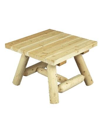 Ce bout de canap&eacute; est avant tout une jolie petite table carr&eacute;e !<br /> <br /> Elle vous sera tr&egrave;s utile dans toutes les pi&egrave;ces de la maison, dans votre jardin, dans votre v&eacute;randa et sur votre terrasse.<br /> <br /> Vous l'utiliserez &agrave; votre gr&eacute; comme petite table de jardin, table de salon, table &agrave; caf&eacute;, table bout de canap&eacute; pour y d&eacute;poser plantes, livres, magazines, bibelots, photos, etc …<br /> <br /> Mat&eacute;riau : bois brut naturel – c&egrave;dre blanc – bois non trait&eacute; et imputrescible<br /> <br /> Norme EN 350 (bois tr&egrave;s durable)<br /> <br /> Usages : Table de salon et petite table jardin – tout temps<br /> <br /> En ext&eacute;rieur, &eacute;volution de la teinte en gris clair argent&eacute;<br /> <br /> Possibilit&eacute; d'&ecirc;tre vernie, lasur&eacute;e ou peinte, selon vos go&ucirc;ts<br /> <br /> Dimensions (cm) Longueur 61 – largeur 61 – hauteur 43<br /> <br /> Poids 11 kg<br /> <br /> Table livr&eacute;e pr&eacute;-mont&eacute;e avec quincaillerie et notice d'assemblage pour un montage simple et rapide<br /> <br /> Certification FSC – Certification Rainforest Alliance <br /> <br /> Garantie fabricant 2 ans<br /> <br /> Fabriqu&eacute;e au Qu&eacute;bec (Canada)<br /> <br /> Stock en France